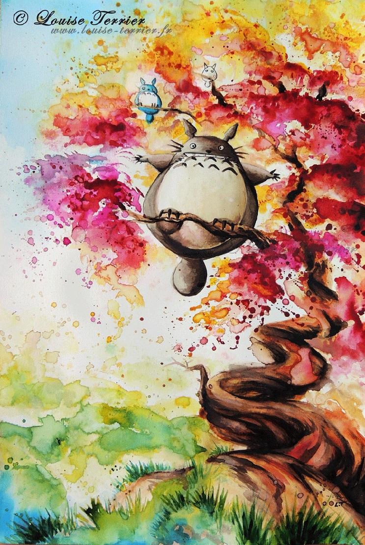 """Las acuarelas de Louise Terrier inspiradas en el anime """"Studio Ghibli"""" 09"""