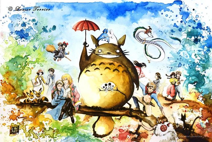 """Las acuarelas de Louise Terrier inspiradas en el anime """"Studio Ghibli"""" 16"""