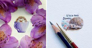 Pequeños dibujos en témperas que nos muestran la belleza de las pequeñas cosas