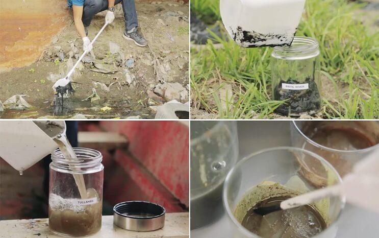 Pinturas creadas con agua de río contaminada por un importante motivo 002