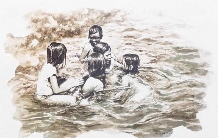 Pinturas creadas con agua de río contaminada por un importante motivo 007