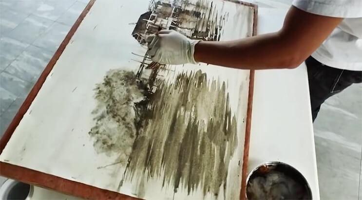 Pinturas creadas con agua de río contaminada por un importante motivo 008