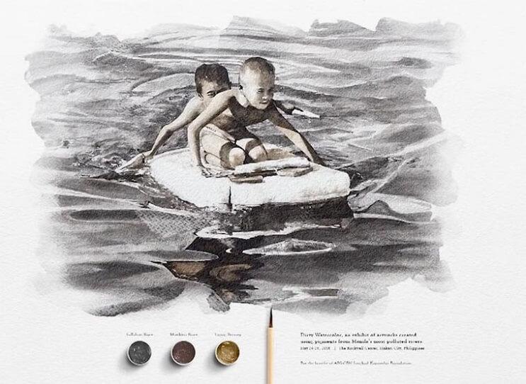Pinturas creadas con agua de río contaminada por un importante motivo 009