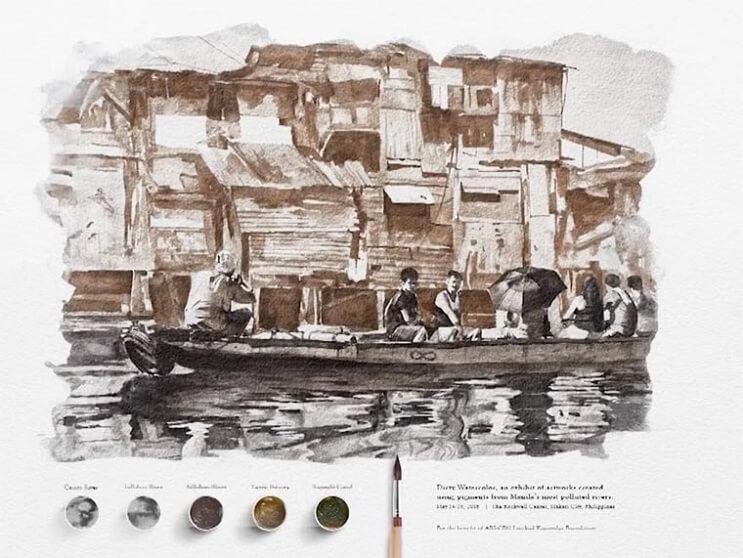 Pinturas creadas con agua de río contaminada por un importante motivo 011