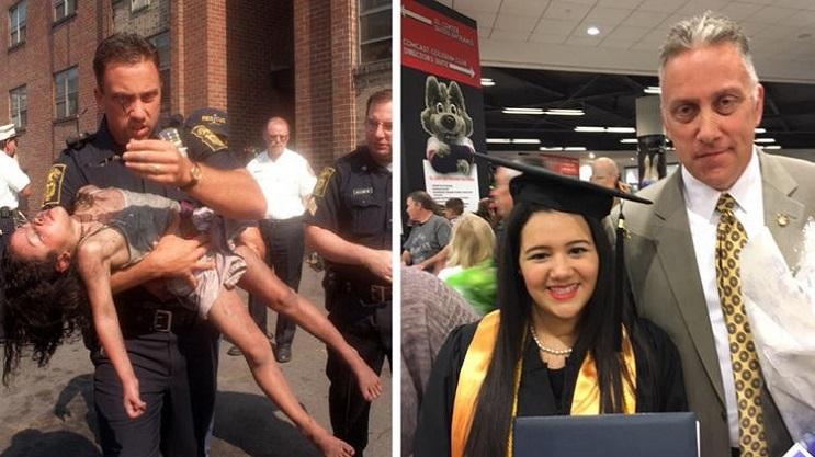 Policía salvó la vida de una niña de 5 años y 18 años después asistió su graduación 1