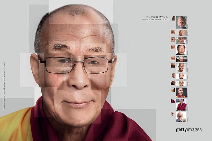 Reconstruyen el rostro de famosas personalidades utilizando fotografías de stock dalai lama final