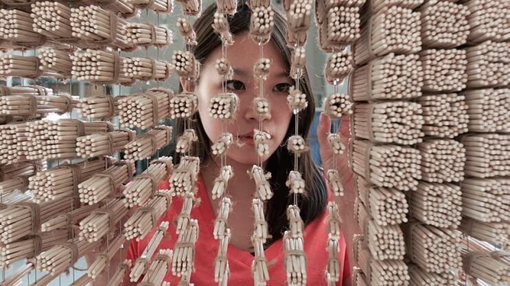 Un retrato de Jackie Chan hecho con palitos chinos 08