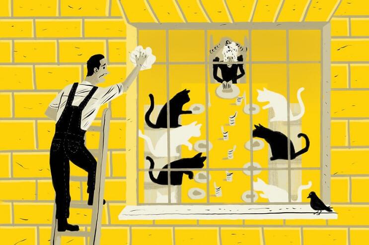 Artista ilustra las 6 situaciones más extrañas que ha visto a través de una ventana 1