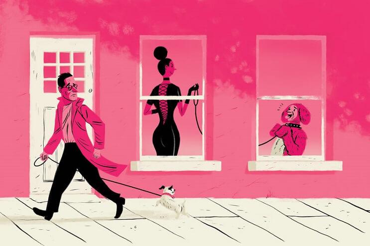 Artista ilustra las 6 situaciones más extrañas que ha visto a través de una ventana 4