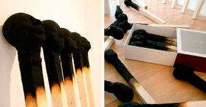 Creatividad absoluta: Palillos de fósforo a gran escala con rostros humanos