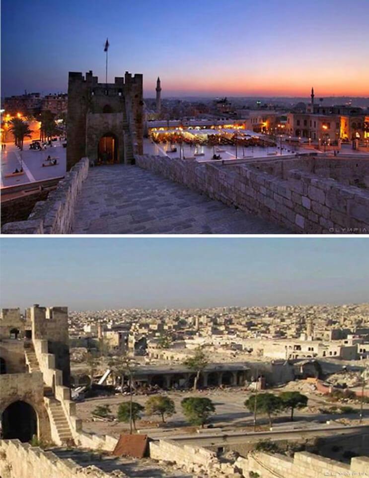 El antes y el después de una ciudad afectada por las guerras 7