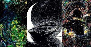 Envolventes ilustraciones de un artista que une su estilo con el de Van Gogh