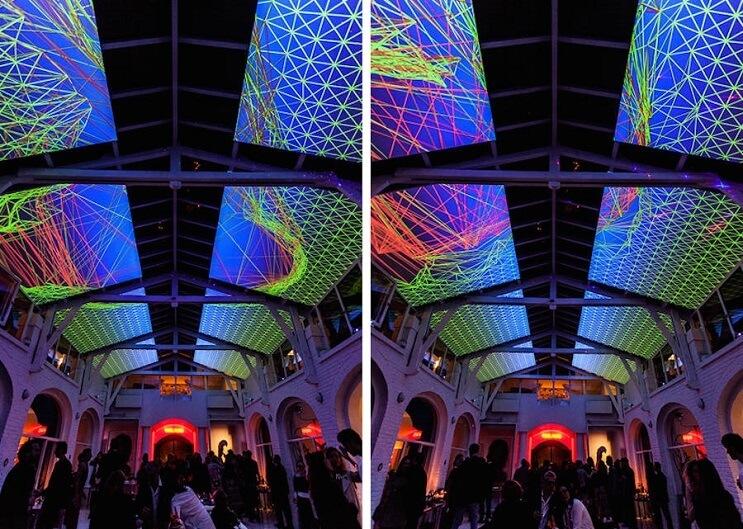 Este artista recreó la impresionante visión de un caleidoscopio en el techo de un salón