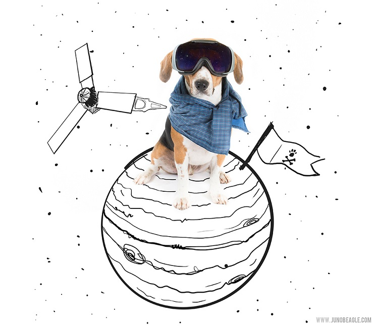 Este lindo Beagle vive las más grandes aventuras en esta serie de doodles animados astronauta
