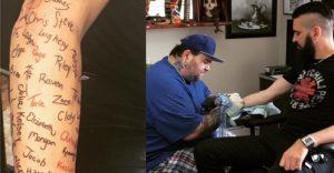 Músico se tatuó 120 firmas de personas que quisieron suicidarse para apoyarlos