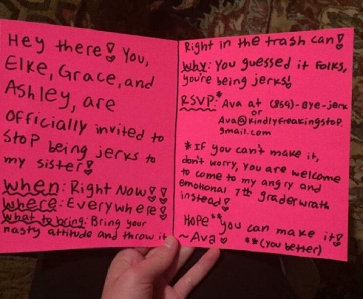 Excelente invitación de una niña a las chicas que le hacían bullying a su hermana mayor 02