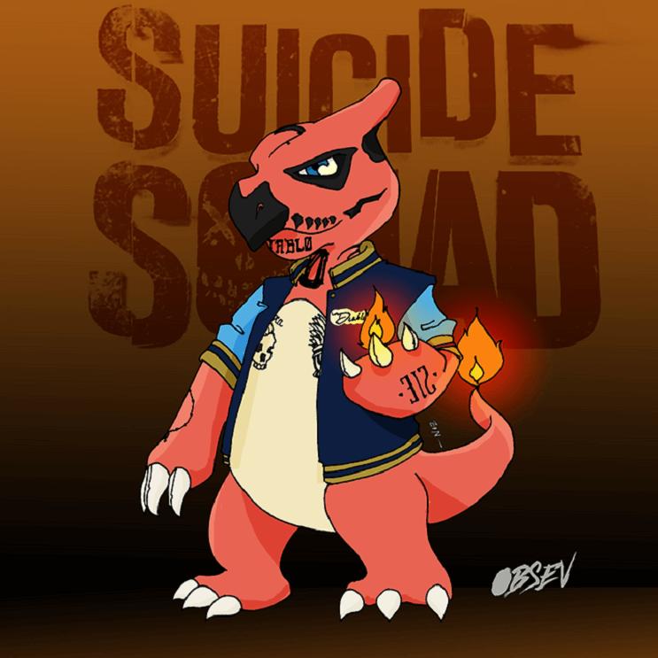 Pokémon y los Suicide Squad se unen en estas divertidas ilustraciones charmeleon