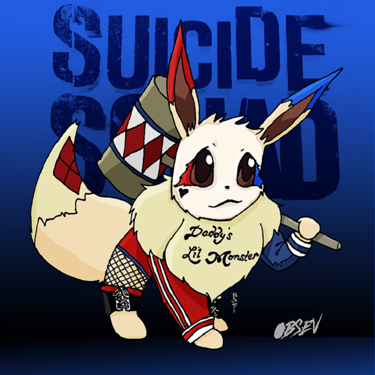 Pokémon y los Suicide Squad se unen en estas divertidas ilustraciones eevee