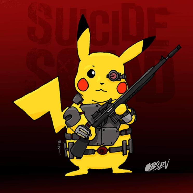 Pokémon y los Suicide Squad se unen en estas divertidas ilustraciones pikachu