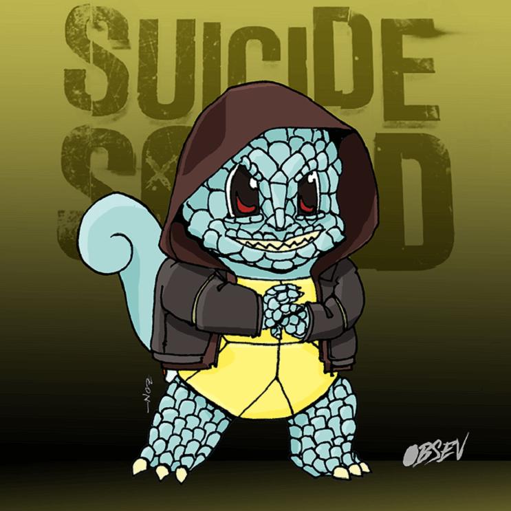 Pokémon y los Suicide Squad se unen en estas divertidas ilustraciones squirtle
