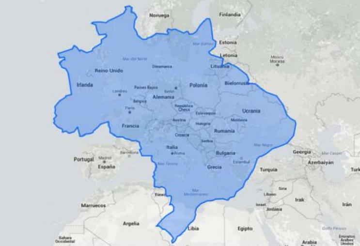 Quieres saber cuál es el tamaño real de tu país Este mapa interactivo te ayudará - Brasil 1