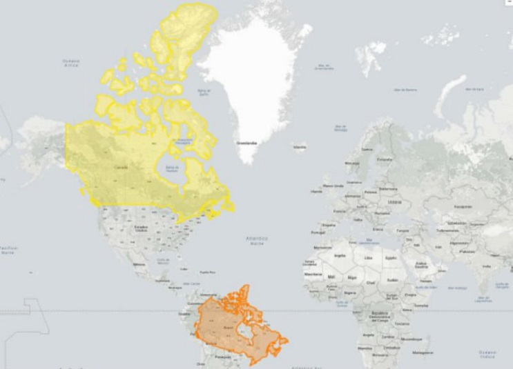 Quieres saber cuál es el tamaño real de tu país Este mapa interactivo te ayudará - Canadá