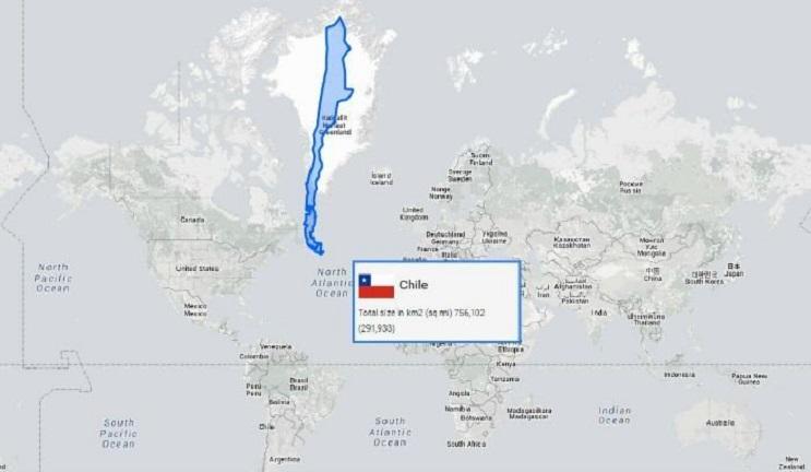 Quieres saber cuál es el tamaño real de tu país Este mapa interactivo te ayudará - Chile