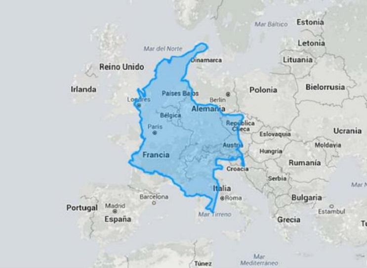 Quieres saber cuál es el tamaño real de tu país Este mapa interactivo te ayudará - Colombia