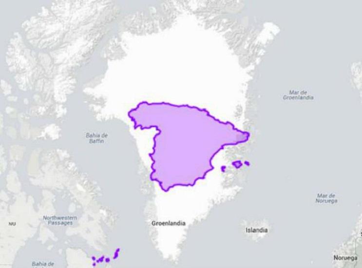 Quieres saber cuál es el tamaño real de tu país Este mapa interactivo te ayudará - España y Groenlandia