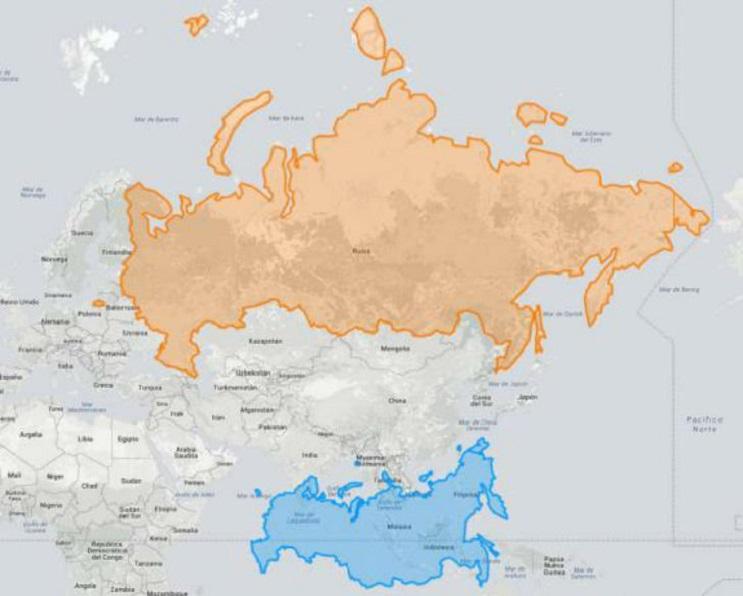 Quieres saber cuál es el tamaño real de tu país Este mapa interactivo te ayudará - Rusia