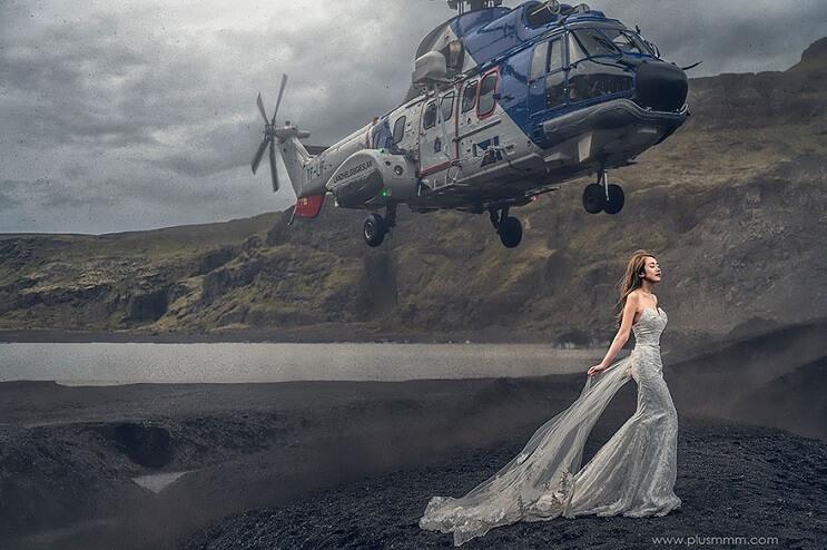 Un helicóptero sobrevoló cerca de una novia en plena sesión fotográfica 1