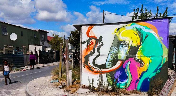 Una serie de graffitis de elefantes buscan dar esperanza a Sudáfrica 4