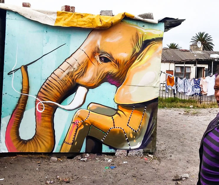 Una serie de graffitis de elefantes buscan dar esperanza a Sudáfrica 8