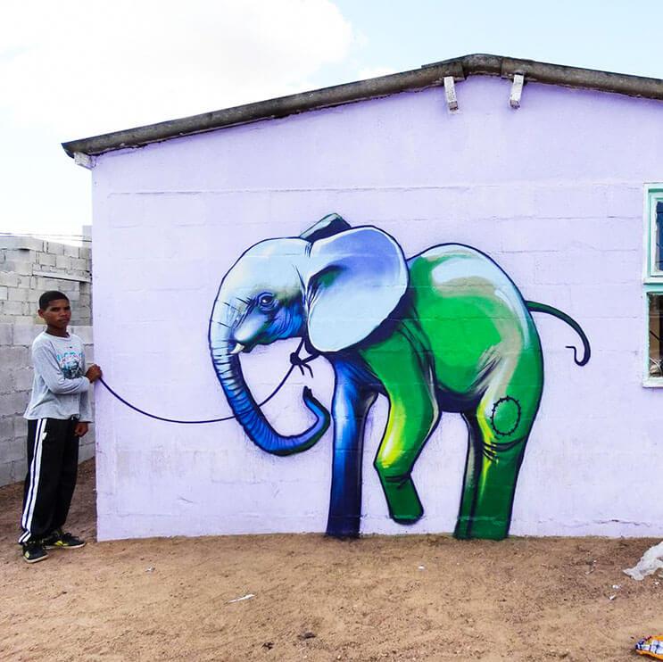 Una serie de graffitis de elefantes buscan dar esperanza a Sudáfrica