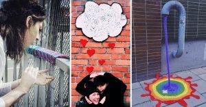 Coloridos tejidos a crochet invaden las calles de la ciudad