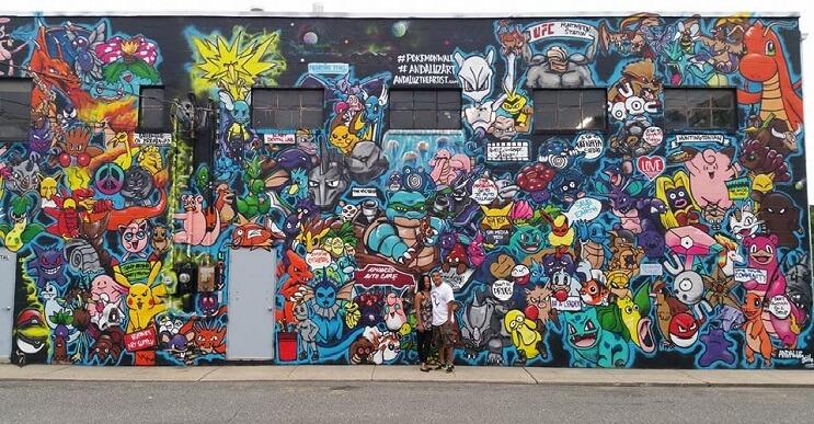 Artista recrea a los 151 Pokémones en este impresionante mural