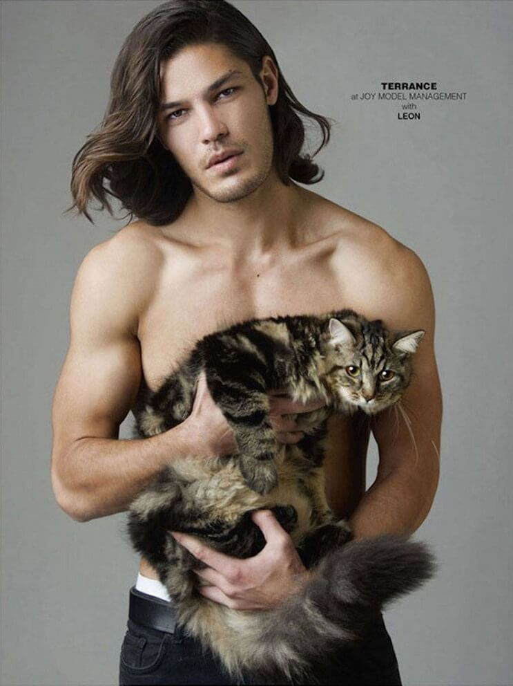 Chico guapo con gato de rayas