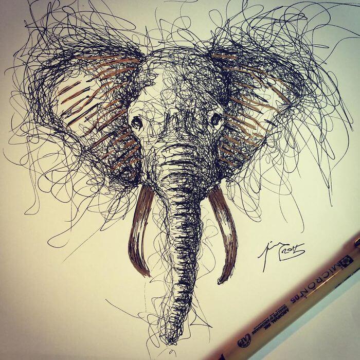 Cuando los garabatos se convierten en algo más elefante