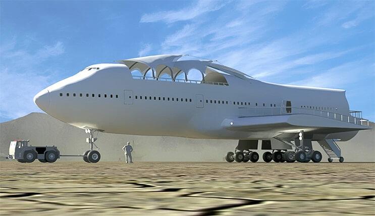 Este avión Boeing 747 fue transformado de una colorida forma para ser usado como galería 02