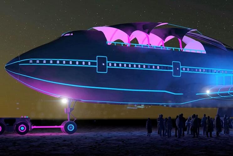 Este avión Boeing 747 fue transformado de una colorida forma para ser usado como galería 07