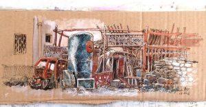 Joven artista dibuja con papel reciclado en China