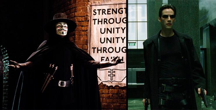 Mr Robot V de Vendetta Matrix