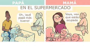 Ilustraciones que nos muestran lo diferentes que se ven en público padres y madres