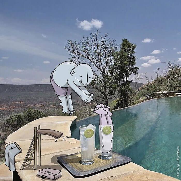 meterse a la piscina