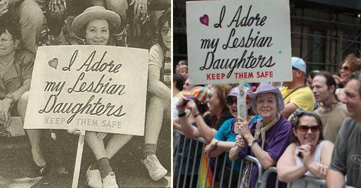 Madre está más que orgullosa de sus hijas lesbianas y lo muestra hace 30 años de esta manera