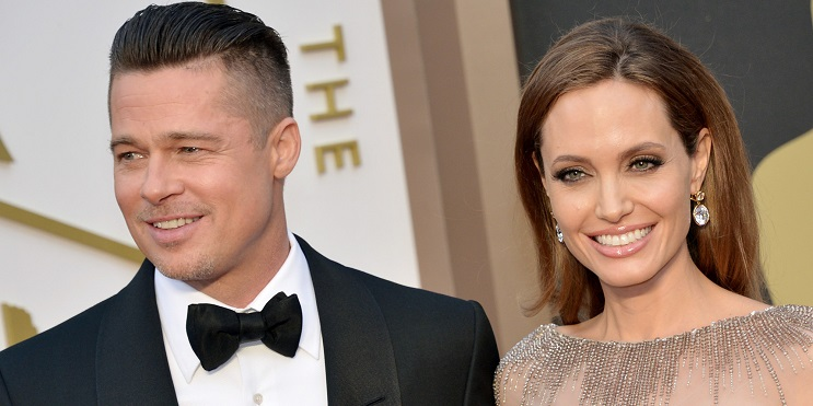 """Actors Brad Pitt and Angelina Jolie during the 86th Academy Awards """" The Oscars """" in Los Angeles on March 2, 2014."""