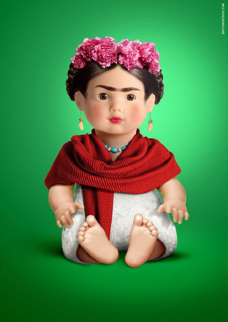 artista-italiano-hace-la-recreacion-de-idolos-contemporaneos-en-munecos-frida-kahlo