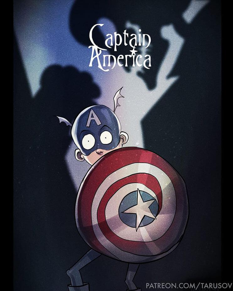 asi-se-verian-los-superheroes-de-hoy-si-hubieran-sido-hechos-por-tim-burton-capitan-america