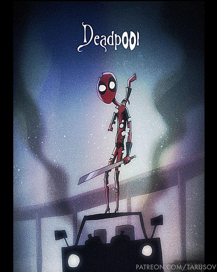 asi-se-verian-los-superheroes-de-hoy-si-hubieran-sido-hechos-por-tim-burton-deadpool