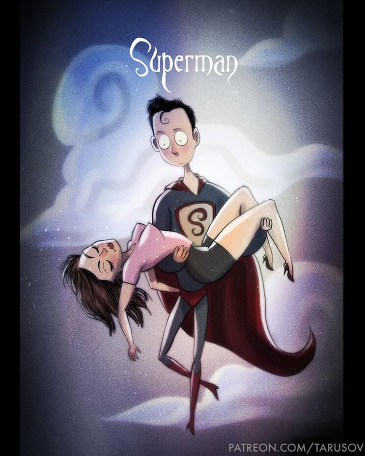 asi-se-verian-los-superheroes-de-hoy-si-hubieran-sido-hechos-por-tim-burton-superman